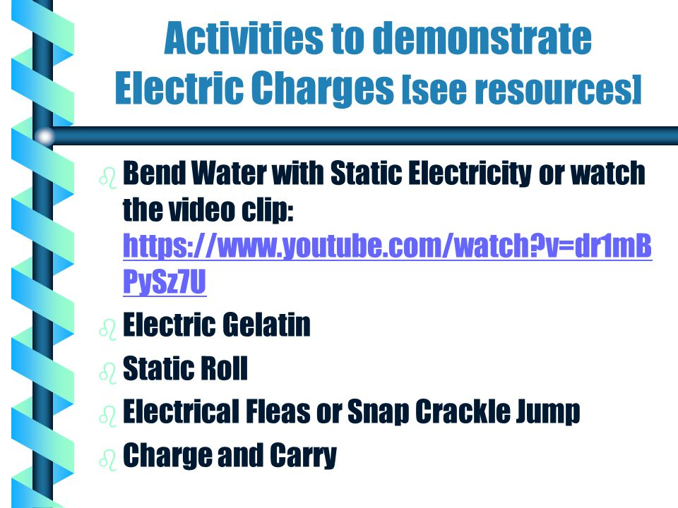 Activities to demonstrate Electric Charges [see resources]